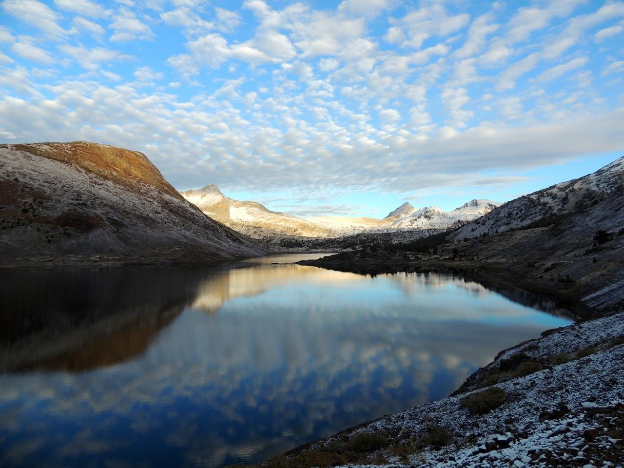 Saddlebag Lake at dawn, after a night of light snow