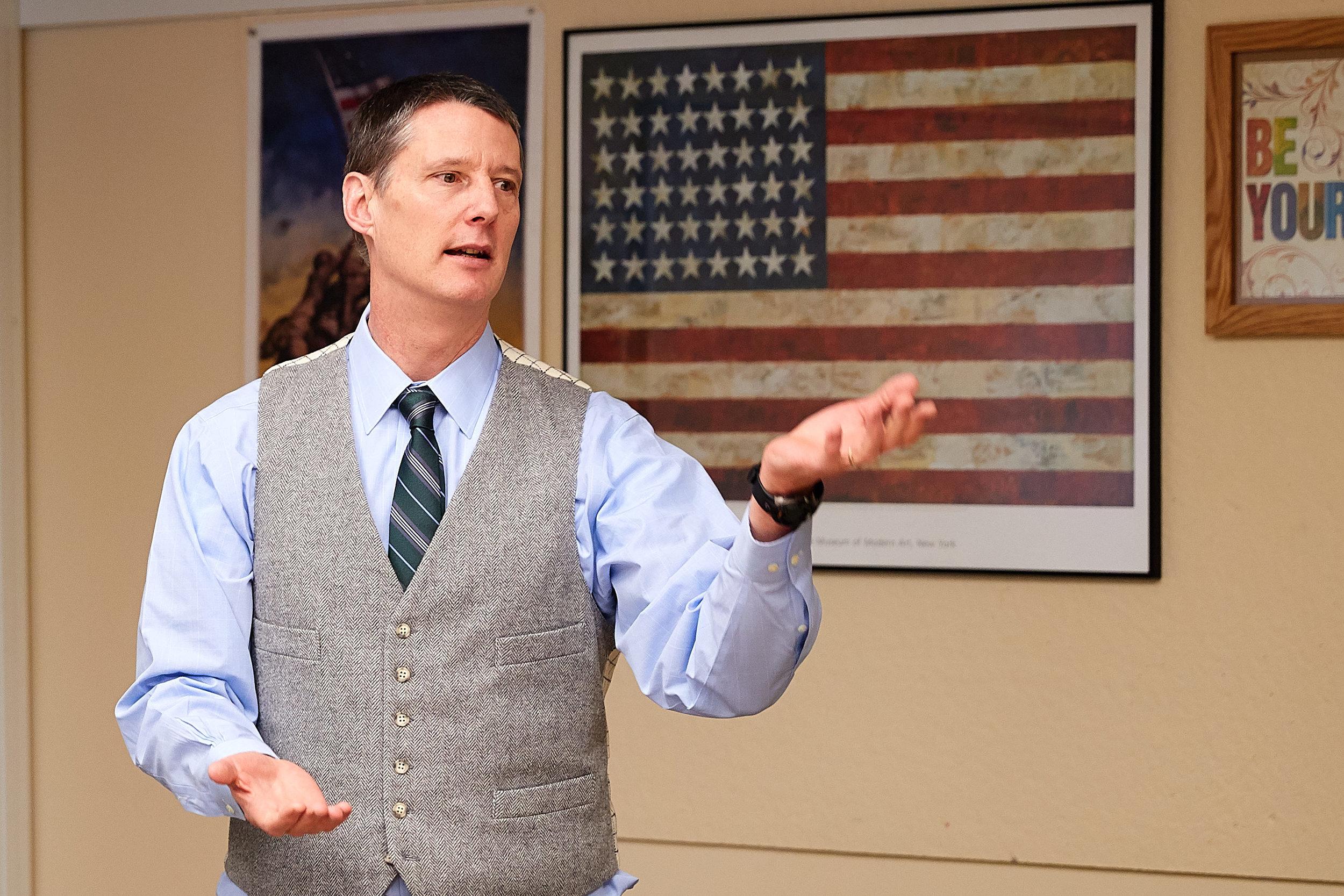 Lindsay Brown teaching AP US History.