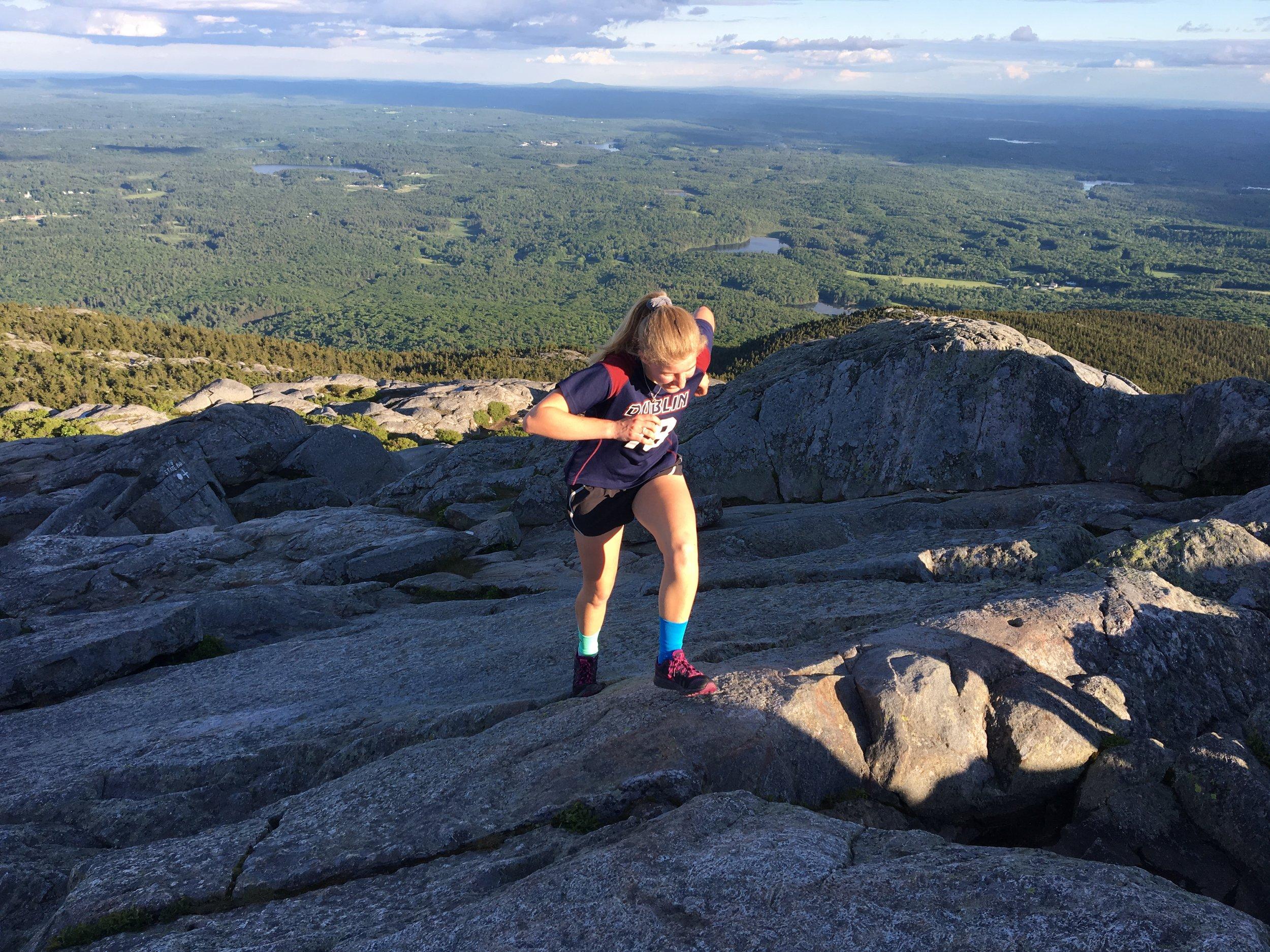 Aggie reaching the summit.
