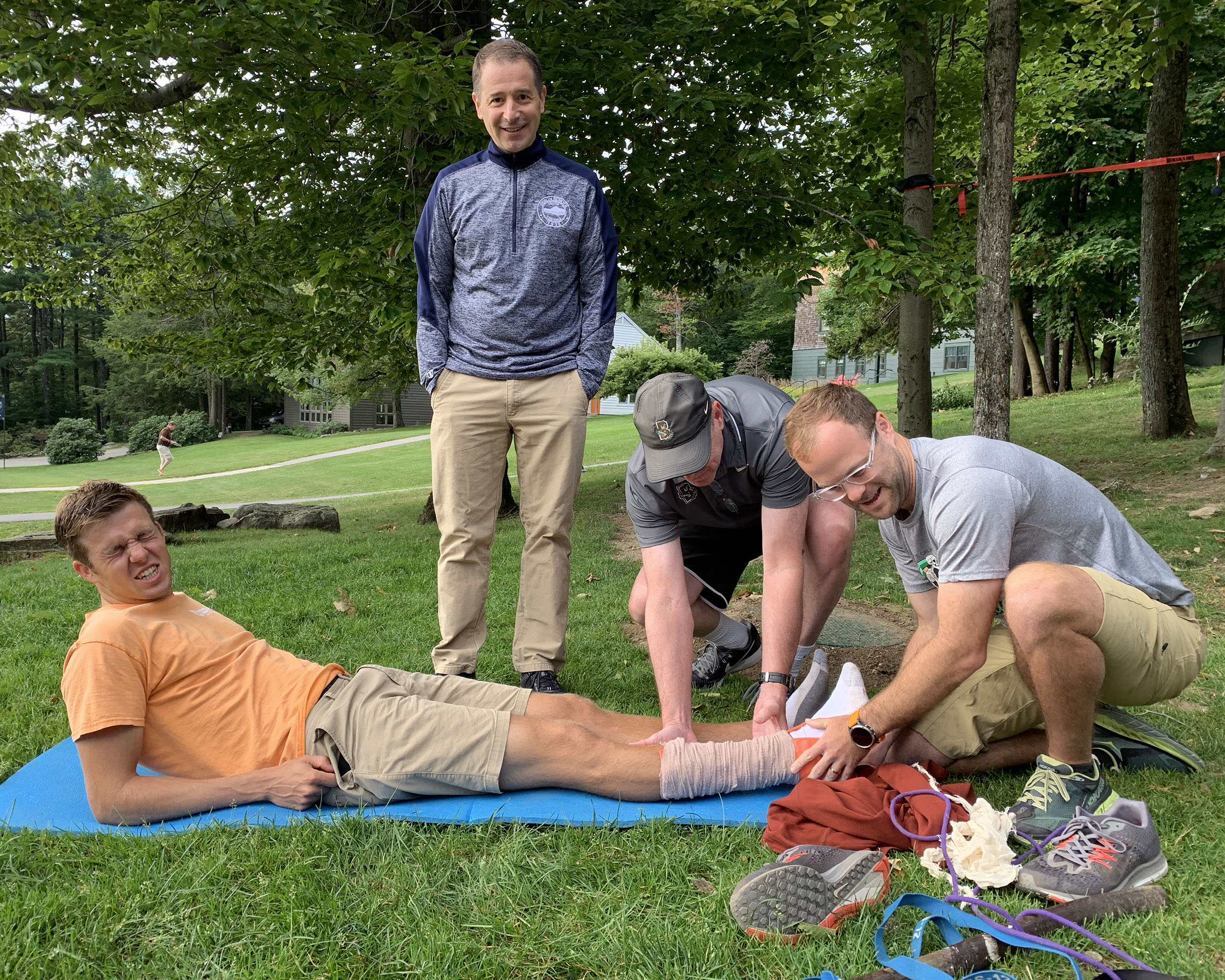 It's all in a days work. Learning how to splint an injured ankle during wilderness first aid training.
