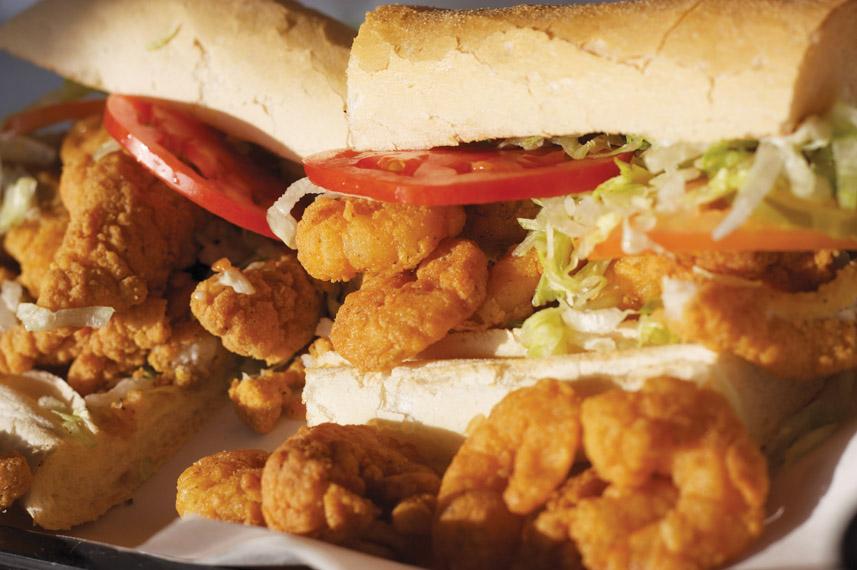 Delicious shrimp poboy