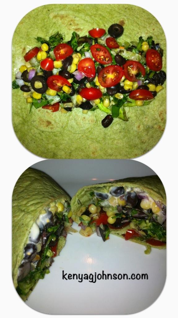 Spinach & Herb Black Bean Salad Wrap