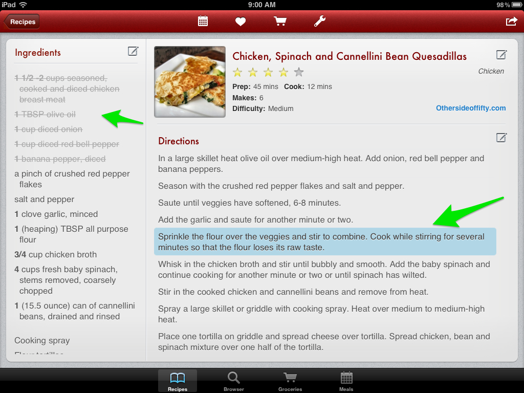 Note:  While cooking, you can tap to cross out ingredients as you use them and highlight the step you are on.