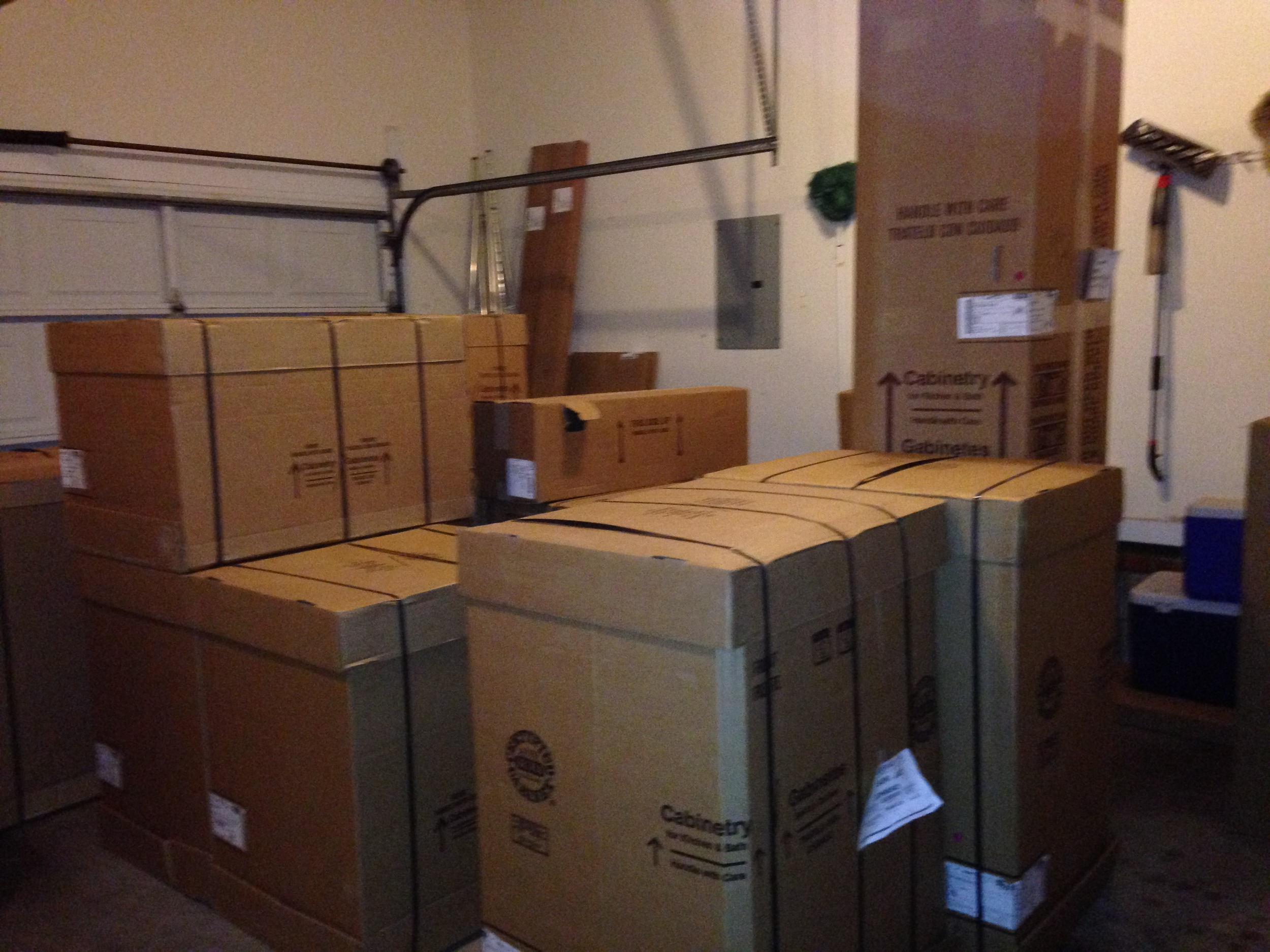 Eventually these boxes moved to the living room.  They were there for five days.