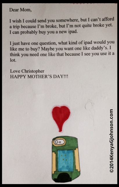 His teacher gave him a  do-over on the Mother's Day project