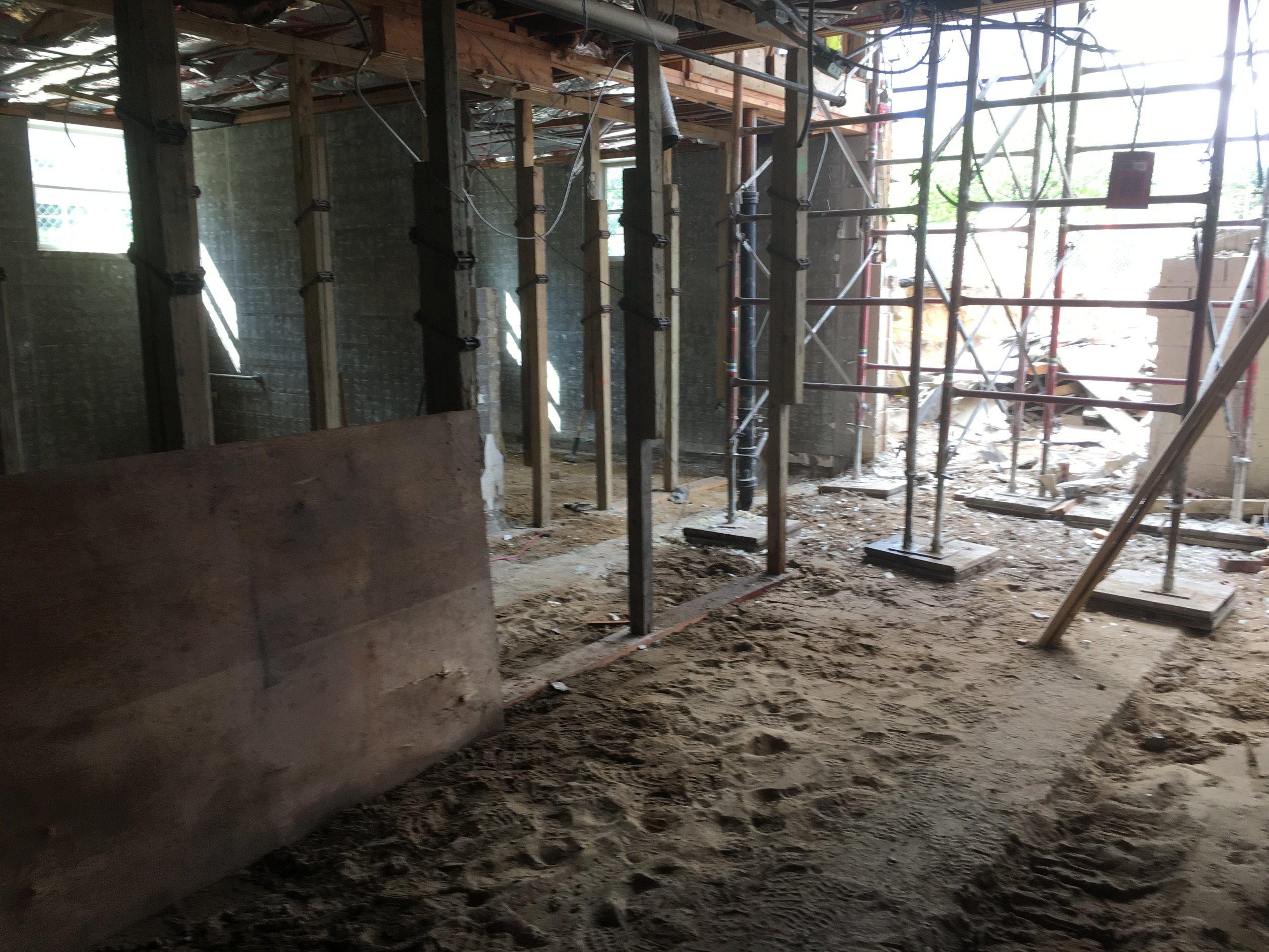 The basement during demolition.