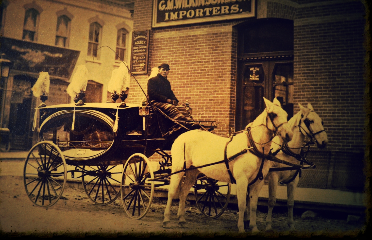 A James Reid hearse is pictured near Princess Street in downtown Kingston in the late 1800's