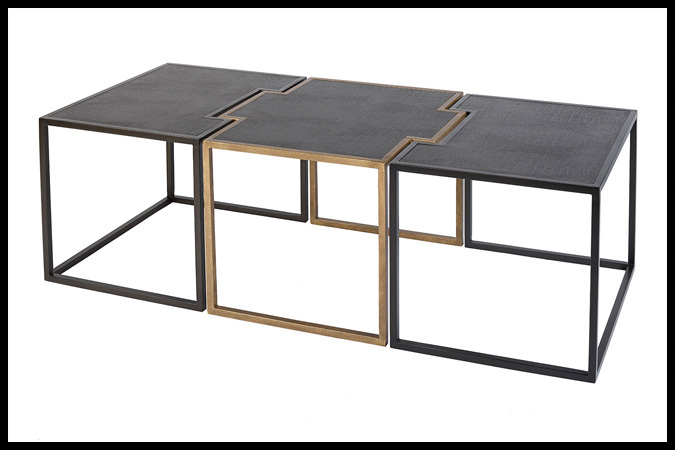 "Cocktail Table Size Shown: 25"" x 60"" x 19""H Ebony/Burnished Iron HSG Finish Black Embossed Crocodile Leather Top Designed by Barry Johnson"