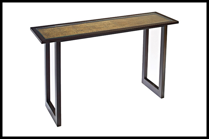 """Console Table Size Shown: 15"""" x 54"""" x 34""""H Burnished Iron Finish with Mica Lines Inset"""
