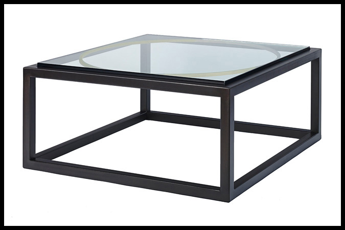 "Cocktail Table Size Shown: 36"" x 36"" x 16""H Ebony with Burnished Iron HSG Finish Designed by Barry Johnson"