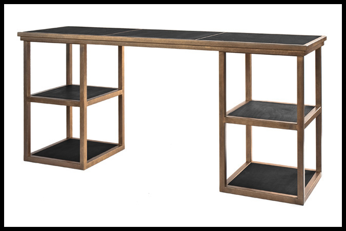 "Console Table Size Shown: 20"" x 72"" x 30""H Leather Insert Shelves Burnished Iron HSG Finish"