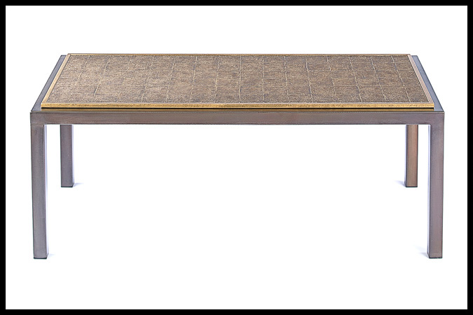 """Cocktail Table Size Shown: 20"""" x 44"""" x 17""""H Dark Burnished Iron with Burnished Iron HSG Trim Sacho Top"""
