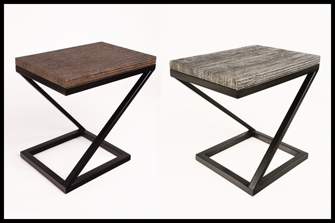 "End Table Size: 26"" x 18"" x 25""H Steel Roads & Bronze Roads Tops Dark Pewter & Ebony Finishes"