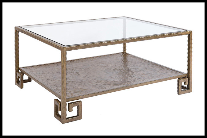 """Cocktail Table Size Shown: 36"""" x 44"""" x 20""""H Burnished Iron with Gold Finish"""