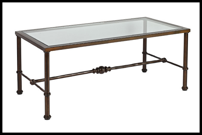 "Cocktail Table Size Shown: 30"" x 48"" x 19""H Burnished Iron Finish"