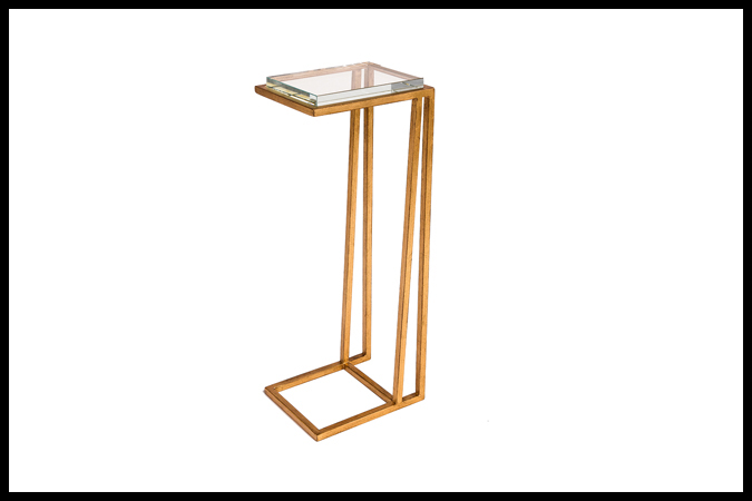 "Drink Table Size: 9"" x 7"" x 23""H Opti-White Glass Top Worn Gold Leaf Finish"