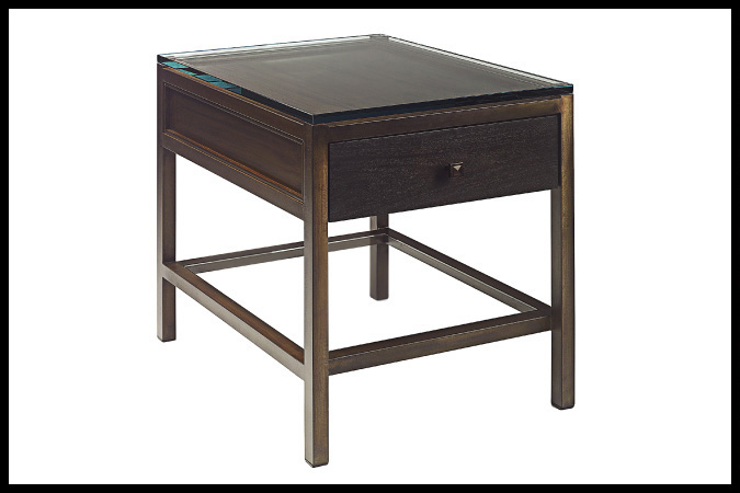 "Side Table Size Shown: 22"" x 26"" x 26""H Glass Top Burnished Iron Finish with Mahogany Drawer"