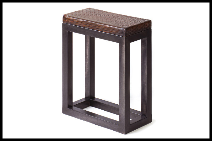 """Drink Table Size Shown: 8"""" x 16"""" x 29""""H Dark Pewter Finish, Leather Wrapped Top"""