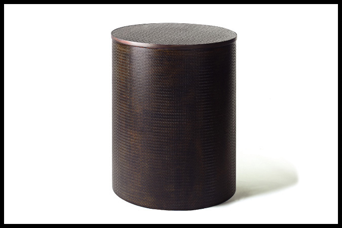 "Dining Table Size Shown: 22"" Dia. x 29""H Leather Wrapped Cylinder with Burnished Iron Trim"