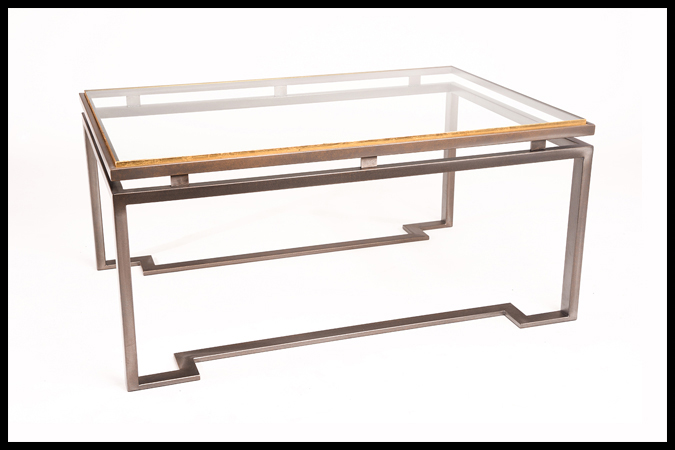 """Cocktail Table Size: 28"""" x 42"""" x 19""""H Glass w/ Gold Leaf Trim Top Pewter Finish"""