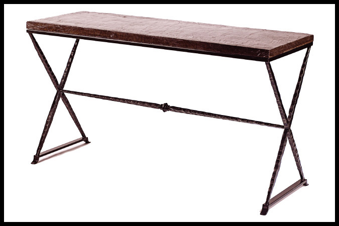 """Console Table Size Shown: 19"""" x 54"""" x 30""""H Urban Stone Top with Ebony Finish"""