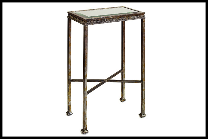 """Party Table Size Shown: 10"""" x 16"""" x 23""""H Beveled Mirror Top Silver and Gold Leaf Finish"""