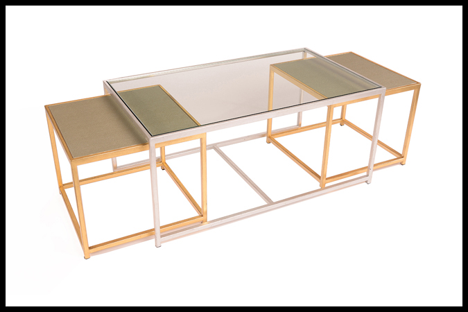 """Cocktail Tables Size: Center Table: 24"""" x 42"""" x 19""""H, Outer Tables: 20"""" x 20"""" x 17""""H Outer Table: Vinyl Top Outer Table: Gold Leaf Finish, Center Table: Silver Leaf Finish"""