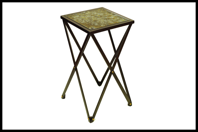 "Party Table Size Shown: 13 1/2"" x 13 1/2"" x 23""H Silver and Gold Leaf Glass Top Ebony Finish"
