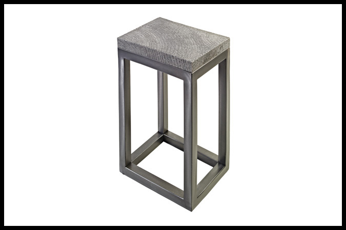 """Drink Table Size Shown: 12"""" x 15"""" x 23""""H Dark Pewter Finish with Moscow Winter Top"""