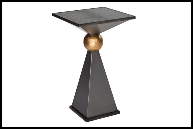 """Drink Table Size Shown: 15"""" x 15"""" x 25""""H Dark Pewter Gold Leaf Ball Finish with Black Crocodile Inset"""