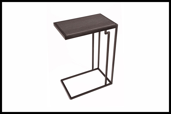 "Drink Table Size: 10"" x 16"" x 23""H Mamba Granite Top Dark Pewter Finish"