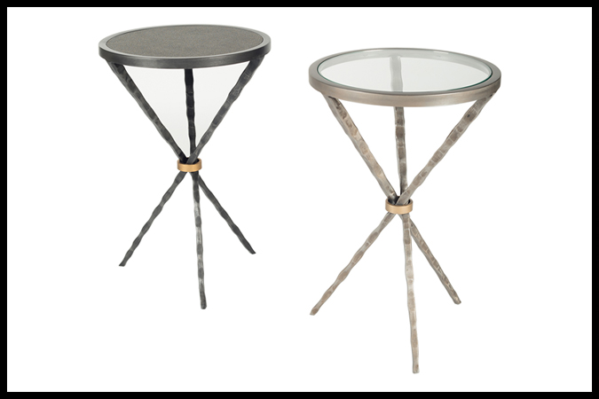 "Drink Table. Size Shown: 16"" Dia xx 23"" H With ¼"" Glass. Pewter with Gold Cuff. Meteor Surface, Dark Pewter with Gold Cuff."