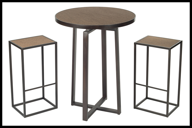 "Bar Table Bar Stool Size Shown: 32"" Dia x 42"" H. Dark Burnished Iron Finish. Sardinian Flores Surface. Size Shown Stools: 12"" x 16"" 30"" H. Dark Burnished Iron Finish. Sardinian Flores Surface."