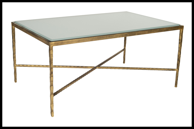 """Cocktail Table Size Shown: 26"""" x 40"""" x 18"""" H Worn Gold Leaf Finish with ½"""" Sandblast Opti White Glass."""