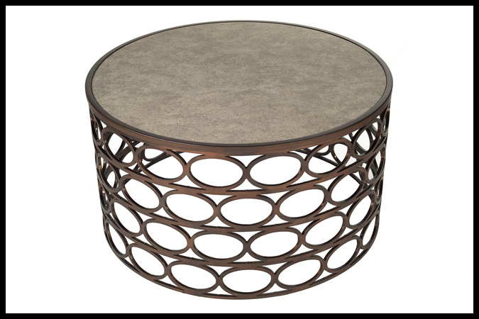 """Cocktail Table Size Shown: 38"""" Dia x 19"""" H Burnished Iron Finish with Vinny Stone Surface."""