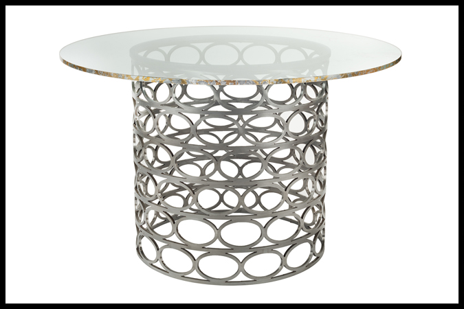 """Dining Table Size Shown: Base 22 """" Dia x 29"""" H. 5/8"""" 48"""" Dia Glass. Pewter Finish. Silver + Gold Leaf on Edge of Glass."""