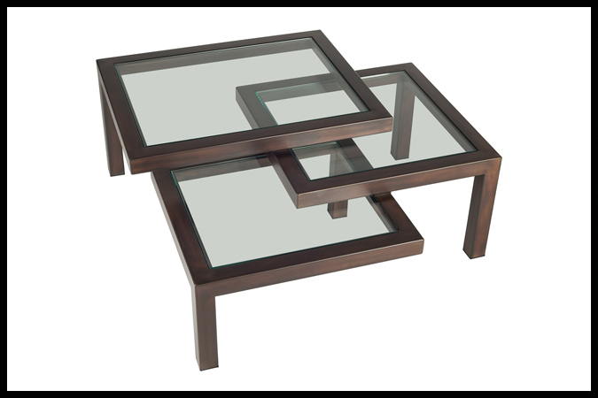 """Cocktail Table Size Shown: 40"""" x 40"""" x 16 ½"""" H Burnished Iron Finish with 3/8"""" Glass."""