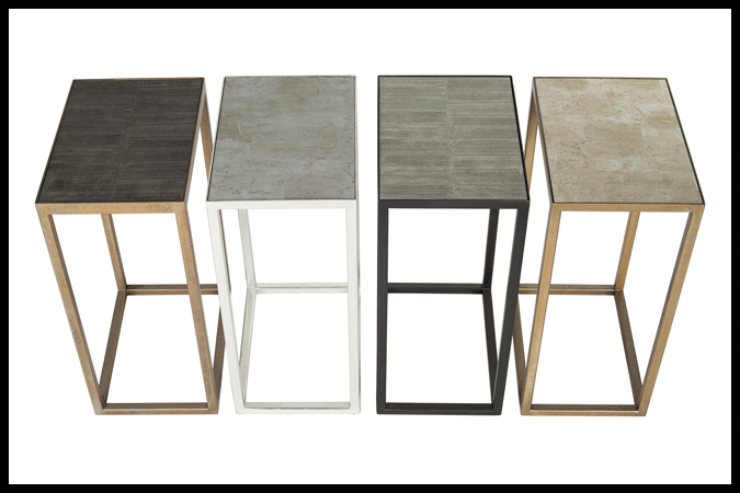 """Drink Table Size Shown: 10"""" x 14"""" x 23"""" H Multiple Finishes + Surfaces"""