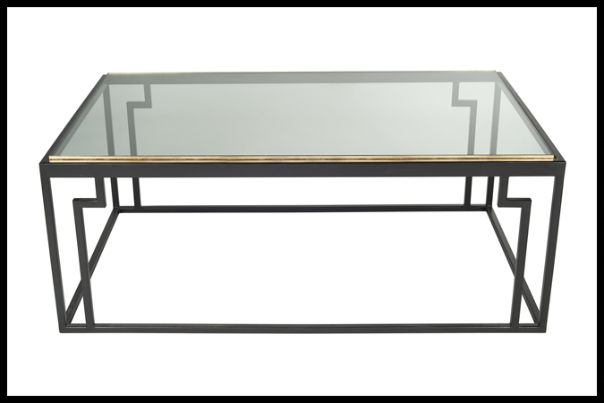 "Cocktail Table Size Shown: 30"" x 48"" x 18"" H Ebony Finish with ½"" Glass Gold Leaf Edge."