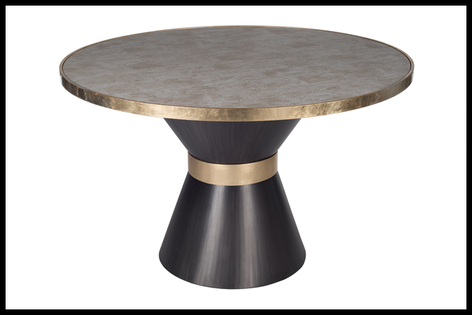 "Dining or Focal Table Size Shown: 28"" Dia x 28 ½"" H Base with 48"" Dia Nomad White Gold Surface Top. Dark Pewter Gold Leaf Band."