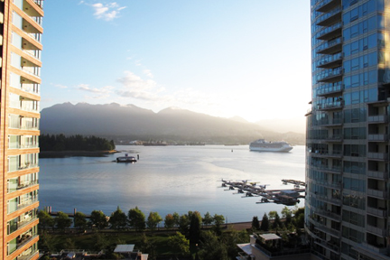 View from Renaissance Vancouver Harbourside Hotel. Downtown Vancouver.