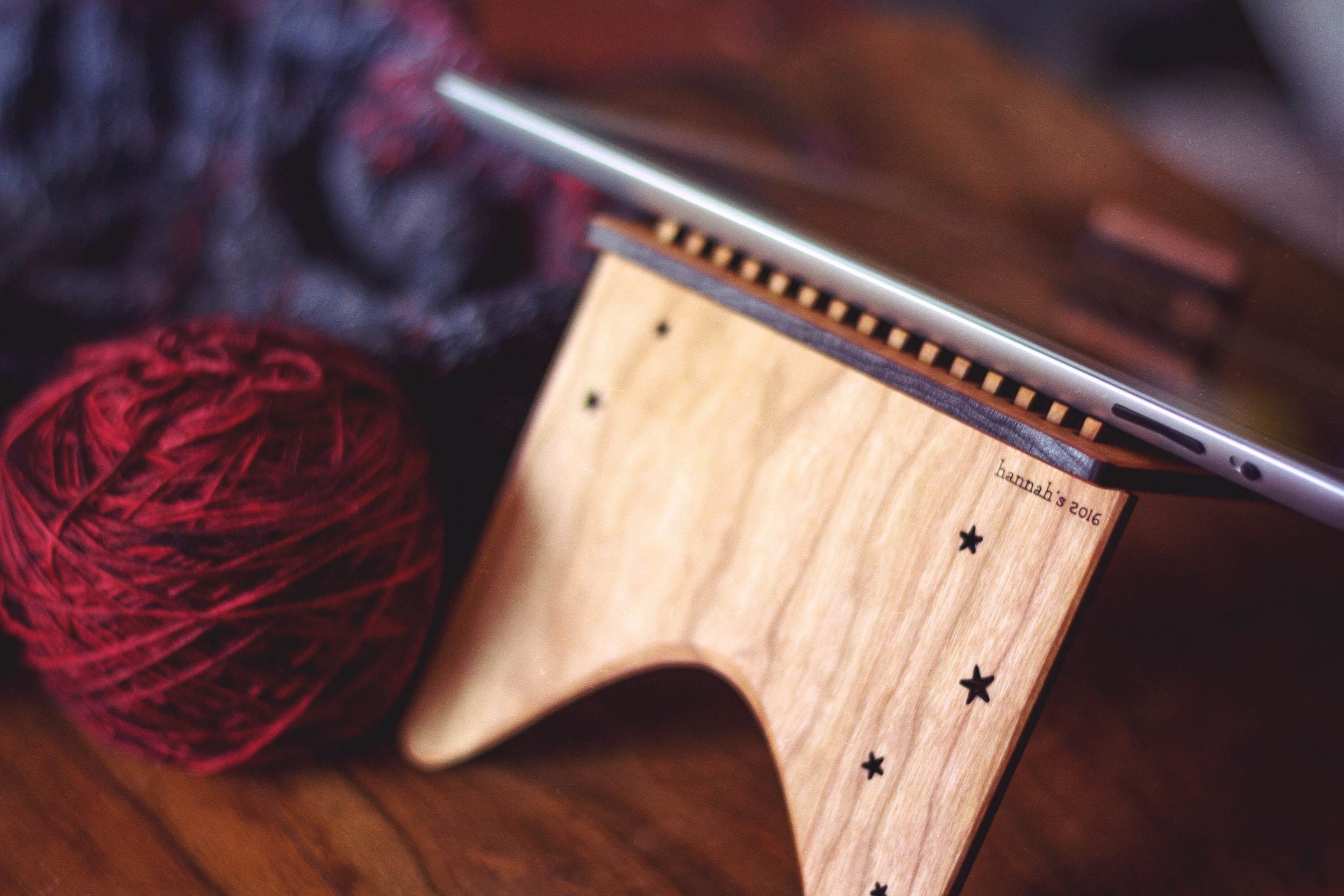 Using a Twilight iPad stand to read a knitting pattern.