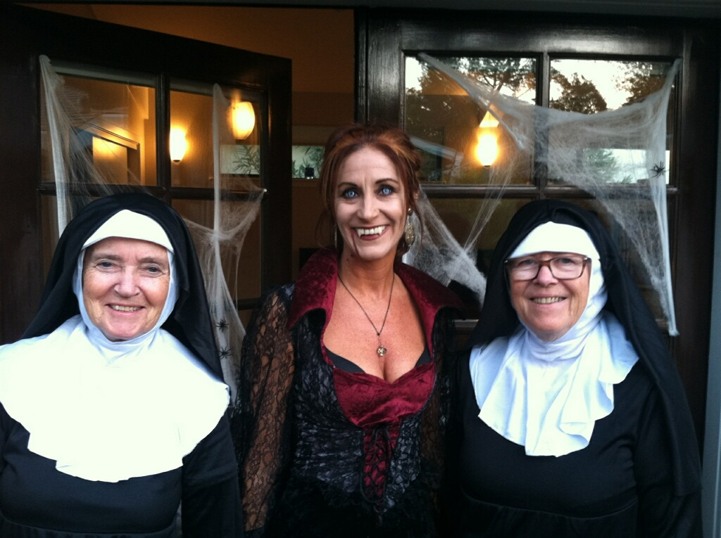 Cyndi Frank shows off her vampire eyes (wearing Lestat). Oh those poor nuns...