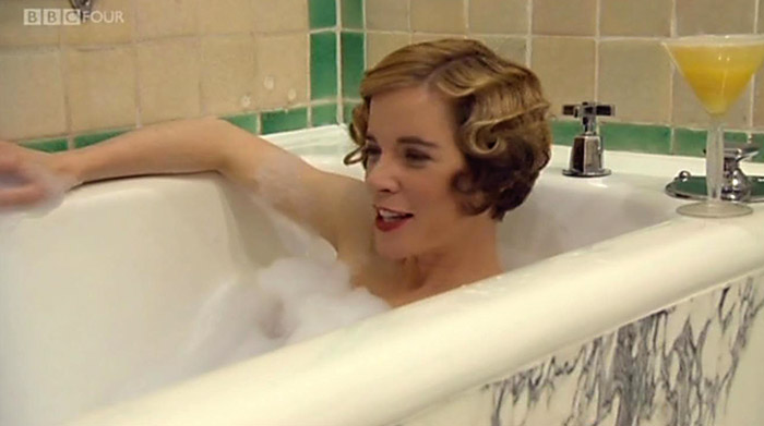 Lucy does not host the whole show from the tub.