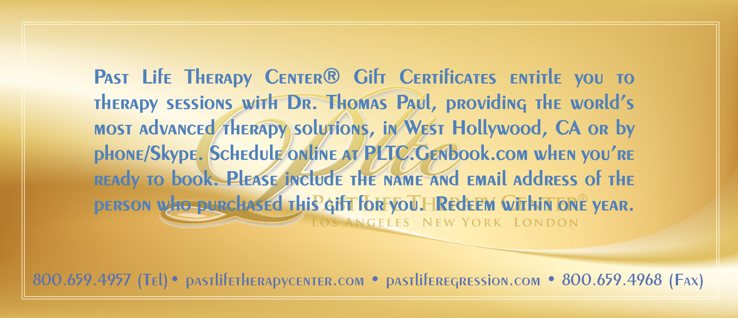 Back view: Terms of Gift Certificates