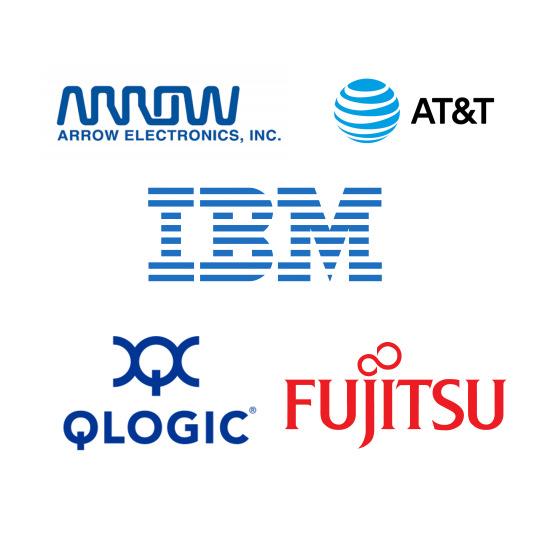 Fortune 500 company logos: Arrow, AT&T, IBM, QLOGIC, Fujitsu