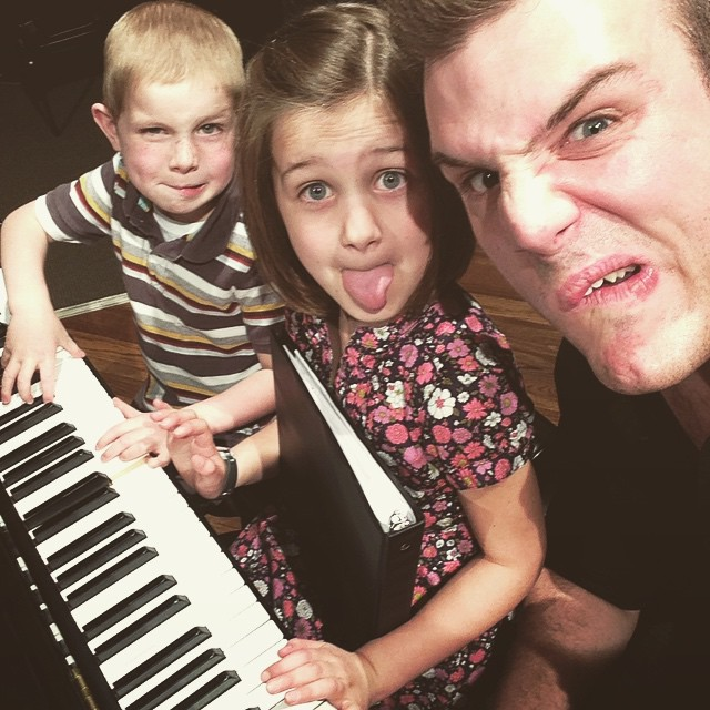 Me teaching my piano students how to be ridiculous on camera. And their parents pay me for this.