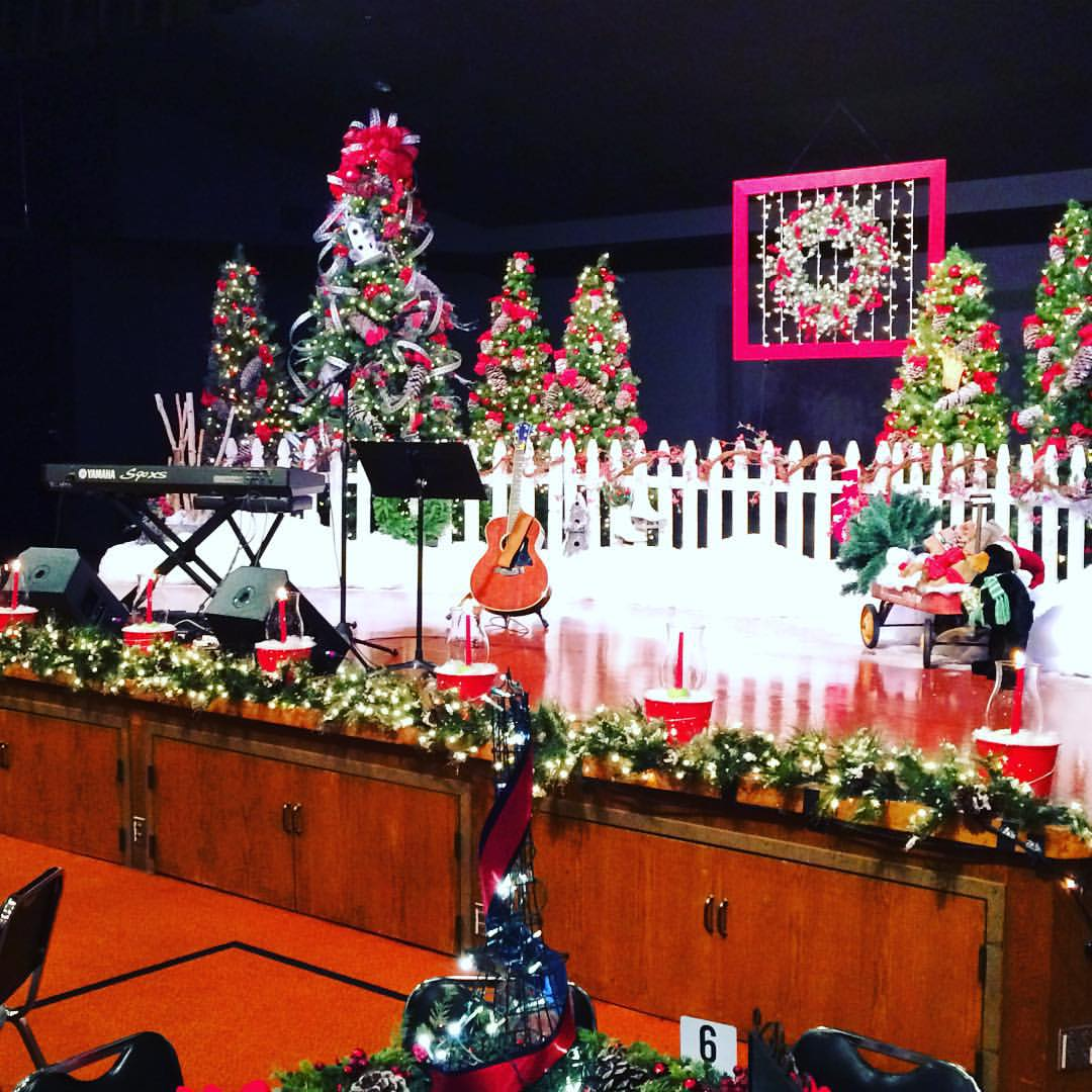 The stage on a Christmas tour I did with CCM singer/songwriter Lindsay McCaul.