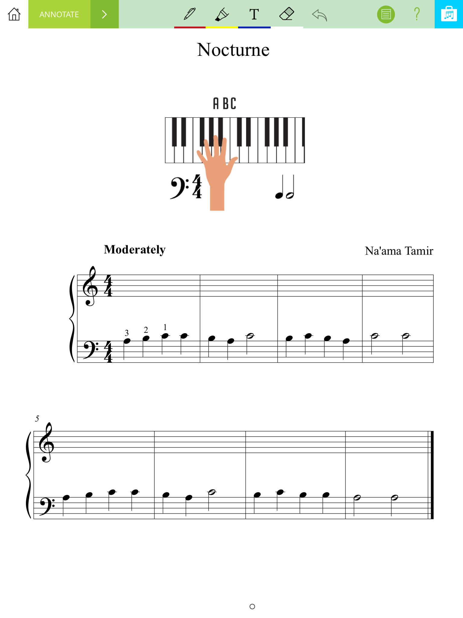 In annotate mode, it's easy to write directly on the sheet music, and zoom in for more detailed edits.