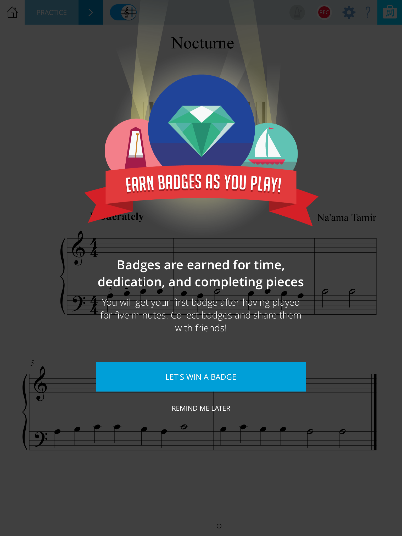 Practice mode encourages students to earn badges through practice.